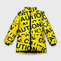 Детская зимняя куртка для девочки с принтом Caution, цвет: 3D-черный, артикул: 10086347006065 — фото 1