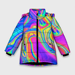 Детская зимняя куртка для девочки с принтом Цветные разводы, цвет: 3D-черный, артикул: 10086773306065 — фото 1