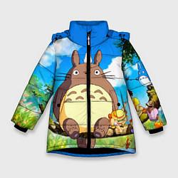 Куртка зимняя для девочки Тоторо и компания цвета 3D-черный — фото 1