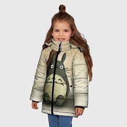 Куртка зимняя для девочки Тоторо под деревом цвета 3D-черный — фото 2