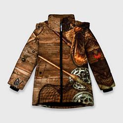 Куртка зимняя для девочки Рыбацкий стол цвета 3D-черный — фото 1