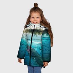 Куртка зимняя для девочки Рыбалка на спиннинг цвета 3D-черный — фото 2