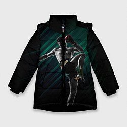 Куртка зимняя для девочки Muay thai kick цвета 3D-черный — фото 1