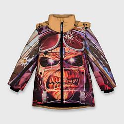 Детская зимняя куртка для девочки с принтом Iron Maiden: Dead Rider, цвет: 3D-черный, артикул: 10089879806065 — фото 1