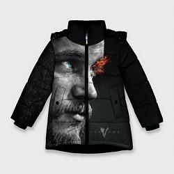 Куртка зимняя для девочки Взгляд викинга цвета 3D-черный — фото 1