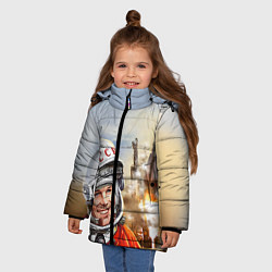 Детская зимняя куртка для девочки с принтом Гагарин взлетает, цвет: 3D-черный, артикул: 10091681006065 — фото 2