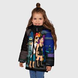 Детская зимняя куртка для девочки с принтом Футурама пати, цвет: 3D-черный, артикул: 10092145706065 — фото 2
