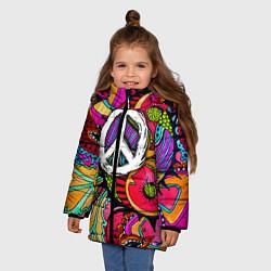 Куртка зимняя для девочки Хиппи 2 цвета 3D-черный — фото 2