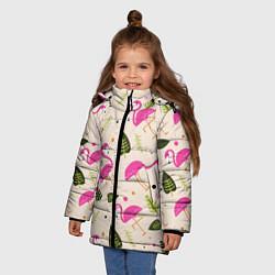 Куртка зимняя для девочки Нежный фламинго цвета 3D-черный — фото 2