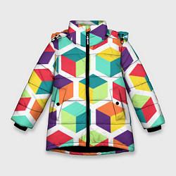 Куртка зимняя для девочки 3D кубы цвета 3D-черный — фото 1