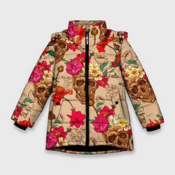 Куртка зимняя для девочки Черепа в цветах цвета 3D-черный — фото 1