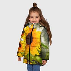 Куртка зимняя для девочки Подсолнухи цвета 3D-черный — фото 2