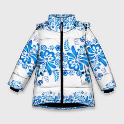 Куртка зимняя для девочки Гжель цвета 3D-черный — фото 1