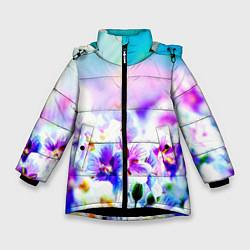 Куртка зимняя для девочки Цветочное поле цвета 3D-черный — фото 1