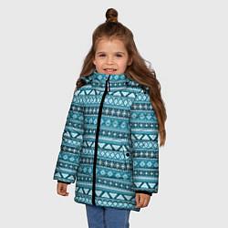 Куртка зимняя для девочки Винтажный орнамент цвета 3D-черный — фото 2