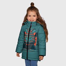 Куртка зимняя для девочки Геометрический волк цвета 3D-черный — фото 2