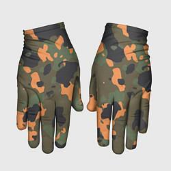 Перчатки Камуфляж: хаки/оранжевый цвета 3D-принт — фото 1