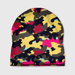 Шапка Камуфляж: желтый/черный/розовый цвета 3D — фото 1