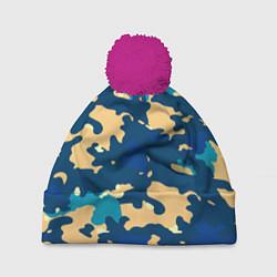 Шапка с помпоном Камуфляж: голубой/желтый цвета 3D-малиновый — фото 1