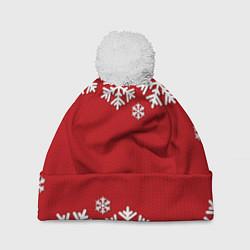 Шапка с помпоном Снежинки цвета 3D-белый — фото 1