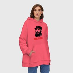 Толстовка-худи оверсайз Fidel Castro цвета коралловый — фото 2