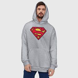 Толстовка-худи оверсайз Superman logo цвета меланж — фото 2