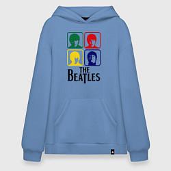 Толстовка-худи оверсайз The Beatles: Colors цвета мягкое небо — фото 1