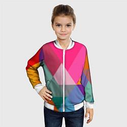 Бомбер детский Разноцветные полигоны цвета 3D-белый — фото 2