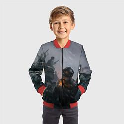 Бомбер детский Солдаты цвета 3D-красный — фото 2