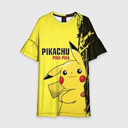 Платье клеш для девочки Pikachu Pika Pika цвета 3D — фото 1
