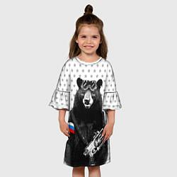 Платье клеш для девочки Армейский медведь цвета 3D — фото 2