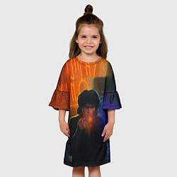 Платье клеш для девочки Виктор Цой в ночи цвета 3D-принт — фото 2