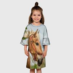 Платье клеш для девочки Игривая лошадка цвета 3D-принт — фото 2