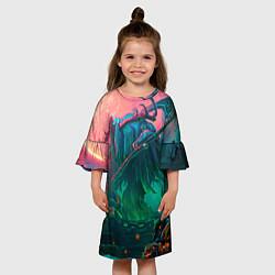 Платье клеш для девочки Могильщик цвета 3D — фото 2