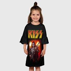 Платье клеш для девочки KISS: Джин Симмонс цвета 3D-принт — фото 2