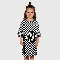 Платье клеш для девочки Billie Eilish: Yin-Yang цвета 3D — фото 2