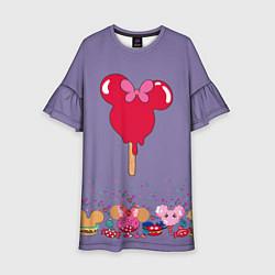 Платье клеш для девочки Минни Маус Мороженое цвета 3D — фото 1