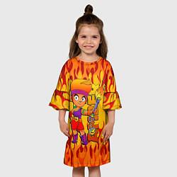 Платье клеш для девочки Brawl Stars - Amber цвета 3D — фото 2