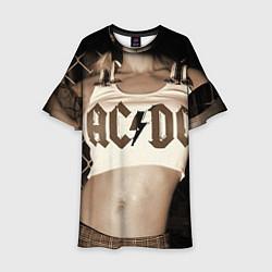 Платье клеш для девочки AC/DC Girl цвета 3D-принт — фото 1