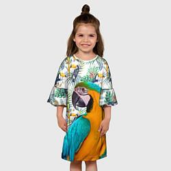 Платье клеш для девочки Летний попугай цвета 3D-принт — фото 2