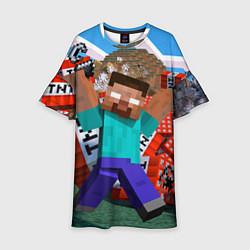 Платье клеш для девочки Minecraft Man цвета 3D — фото 1