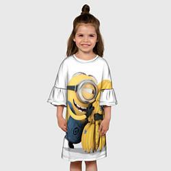 Платье клеш для девочки Minion loves banana цвета 3D — фото 2