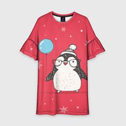 Платье клеш для девочки Влюбленная пингвинка цвета 3D — фото 1