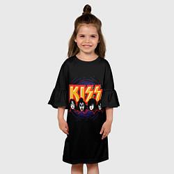 Платье клеш для девочки KISS: Death Faces цвета 3D — фото 2