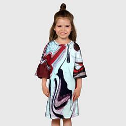 Платье клеш для девочки Разводы цвета 3D-принт — фото 2