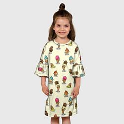 Платье клеш для девочки Мороженое с характером цвета 3D — фото 2