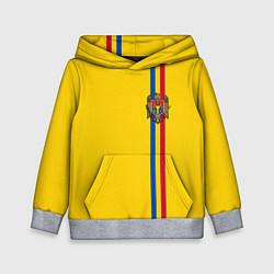Толстовка-худи детская Молдавия: лента с гербом цвета 3D-меланж — фото 1