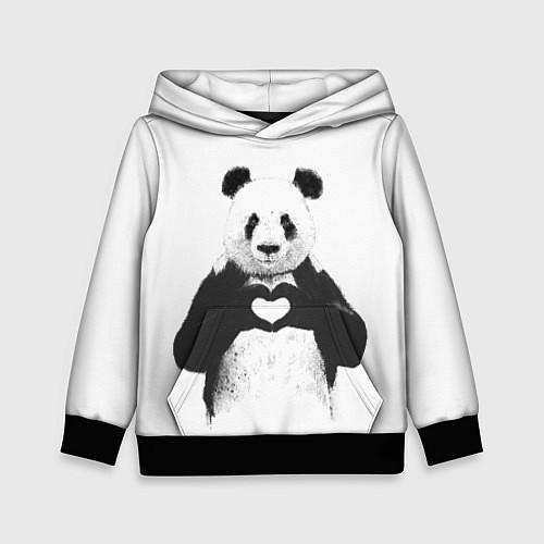 Детская толстовка Panda Love / 3D-Черный – фото 1