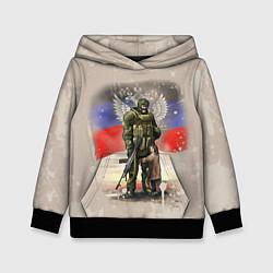 Толстовка-худи детская Солдат и дитя цвета 3D-черный — фото 1