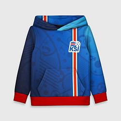 Толстовка-худи детская Сборная Исландии по футболу цвета 3D-красный — фото 1